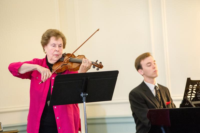 color photograph of Janet Hall playing the violin and Daniel Parvin playing the piano