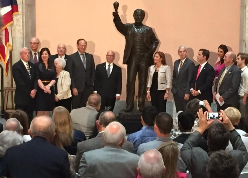 State leaders gather at the Ohio Statehouse in Columbus to unveil the statue of Thomas Edison which will be on display in Statuary Hall in Washington, D.C.