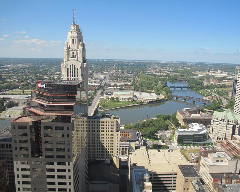 LeVeque Tower as seen from 32nd story window of Rhodes Tower looking westward