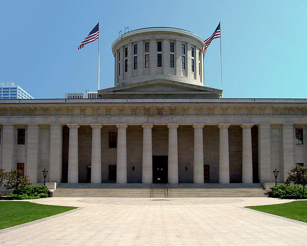 The Ohio Statehouse in downtown Columbus.