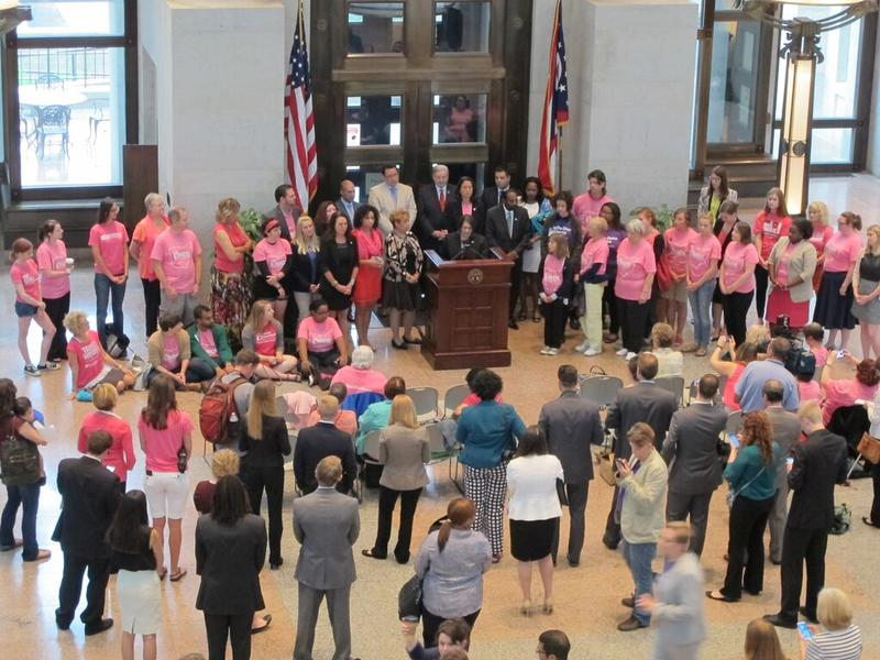 Abortion rights activists gathered for a Statehouse event Thursday.