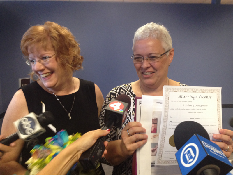 Jimmie Beall (left) and Mindy Ross were the first Franklin County same-sex couple to receive a marriage license