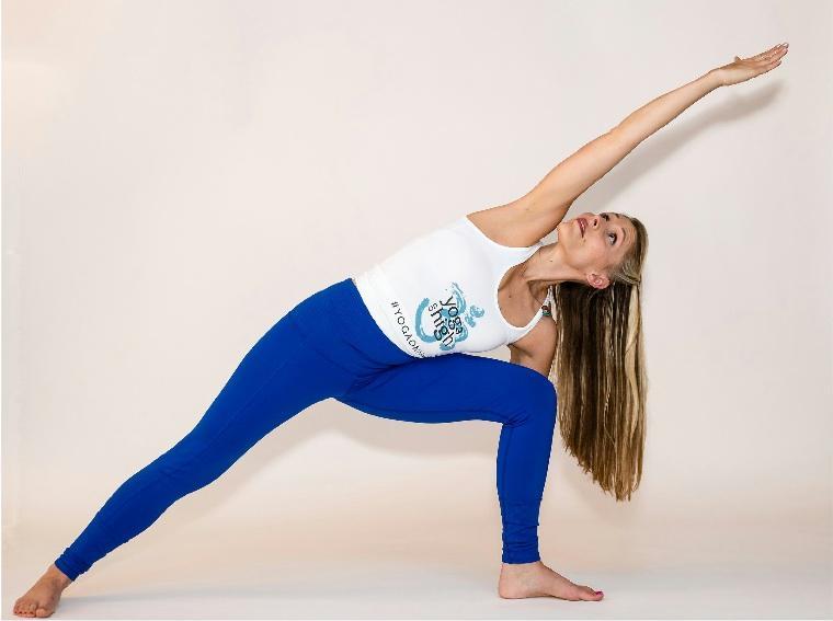 Instructor Michele Vinbury demonstrates Side Angle Pose.