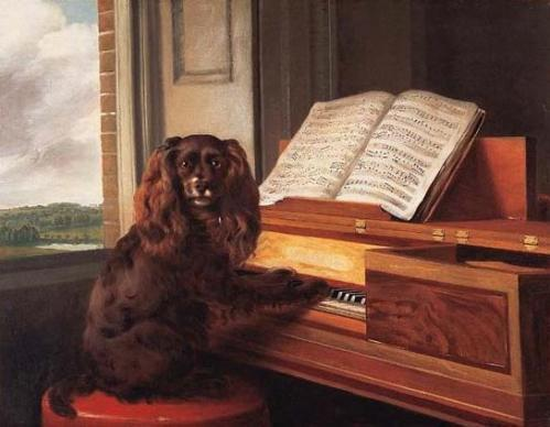 Painting of a dog at a piano