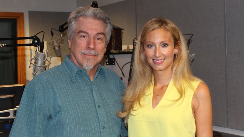 Welsh soprano Gwawr Edwards, right, in the Classical 101 studio with morning host Boyce Lancaster on Sept. 3, 2015.
