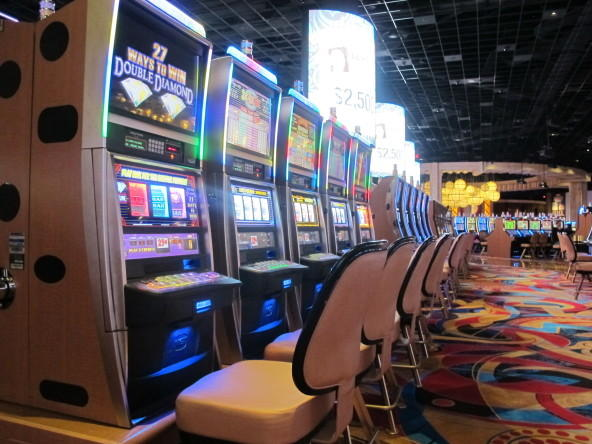 Slot machines inside Hollywood Casino in Columbus.