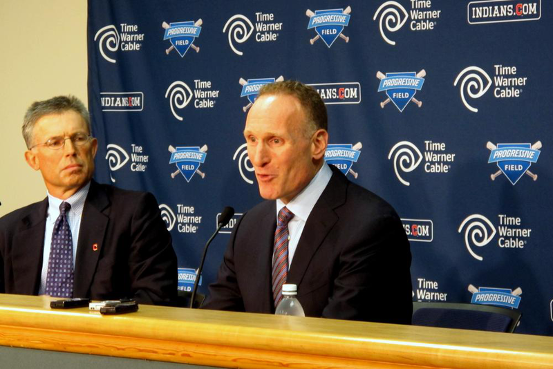 Former Cleveland Indians President Mark Shapiro (center) talks to reporters with team owner Paul Dolan nearby. Shapiro announced he accepted a simular position with the Toronto Blue Jays.