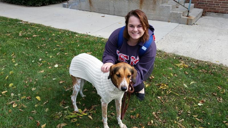Julia Tegge and Zeus at Otterbein University