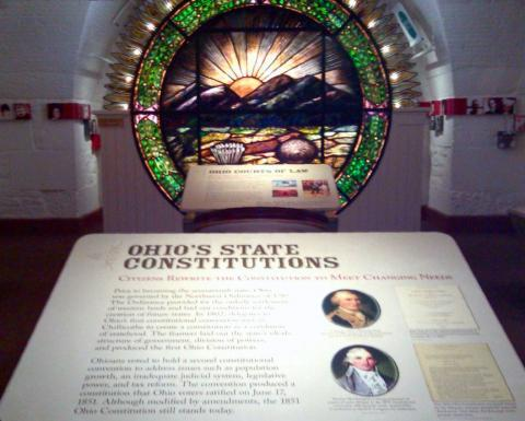 The Ohio State Constitution exhibit at the Ohio Statehouse Museum Education Center