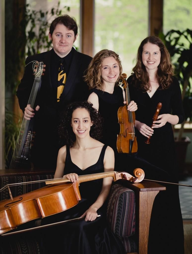 publicity photo off the early music ensemble Wayward Sisters, four musicians with their instruments