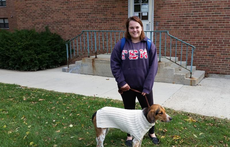 Julia Tegge and her dog Zeus at Otterbein University