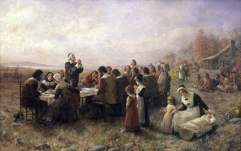 The First Thanksgiving at Plymouth, oil on canvas by Jennie Augusta Brownscombe (1914).