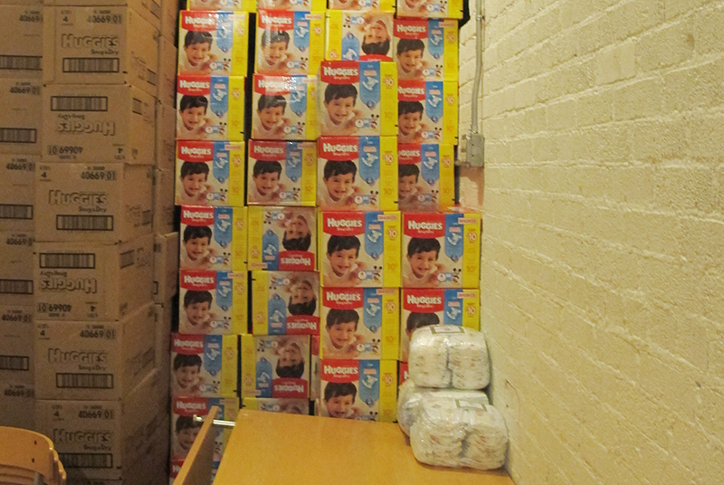 Boxes of diapers