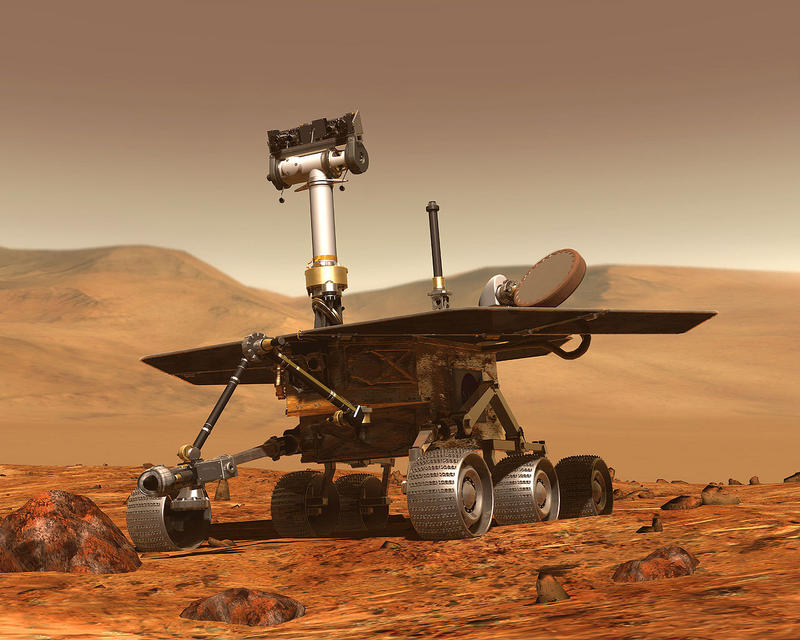 An artist's concept of a Mars exploration rover.