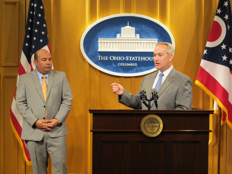 House Speaker Cliff Rosenberger and Senate President Keith Faber appear together at a press conference at the Statehouse in June 2015.