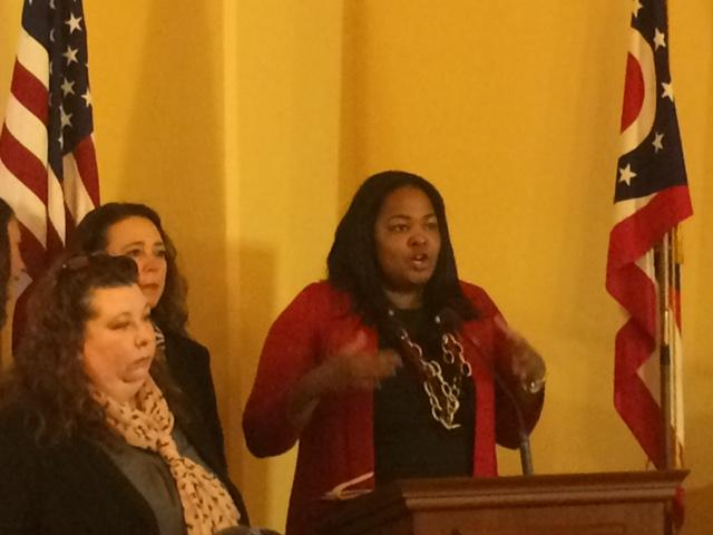 Backers of new abortion bill from left to right: Kellie Copeland, Naral ProChoiceOhio, Democratic Representative Michele Lepore-Hagan and Democratic Representative Stephanie Howse (at podium)