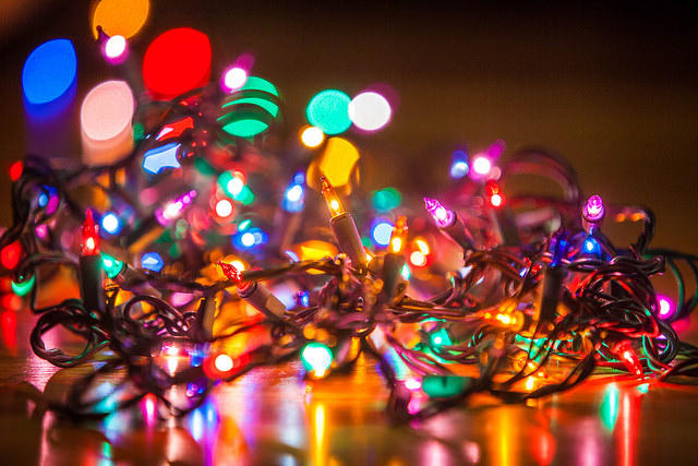 color photo of multicolored Christmas lights in a wad
