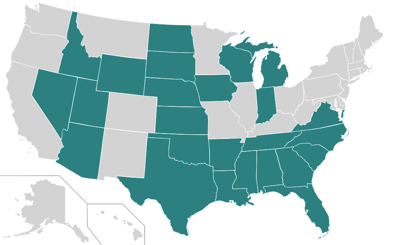 US map of states with right to work laws