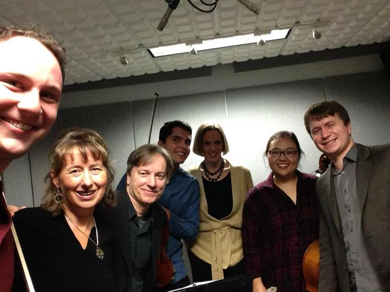 color photograph of Tom Vignieri, Deborah Price, the Calidore Quartet, and Jennifer Hambrick