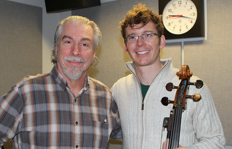 Cellist Joshua Roman with Classical 101's Boyce Lancaster
