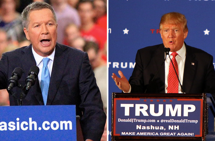 Composite photo of John Kasich and Donald Trump speaking