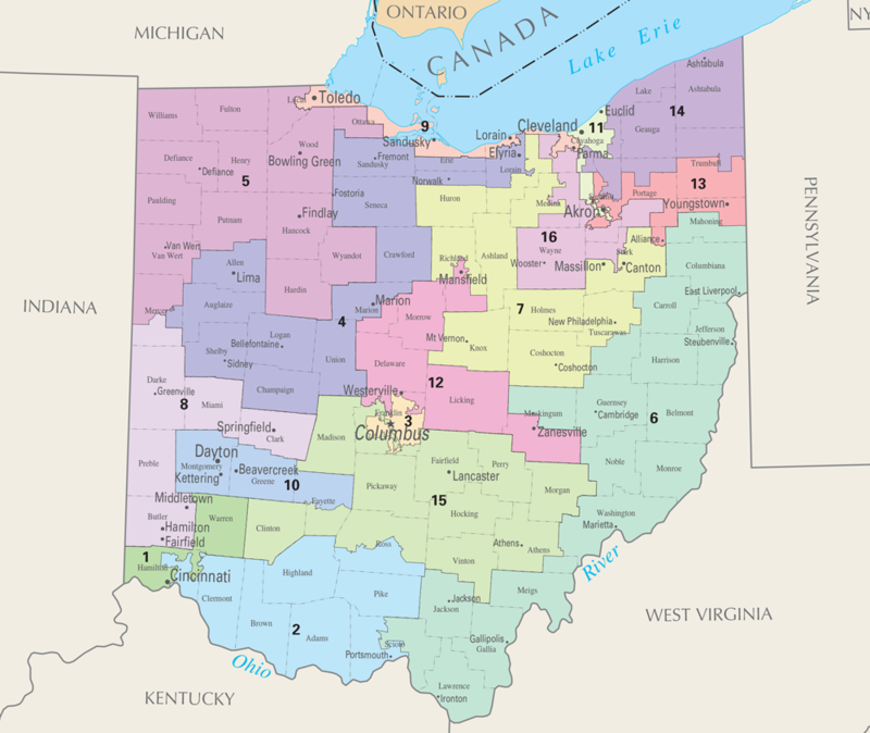 Ohio Congressional Map for 113th Congress