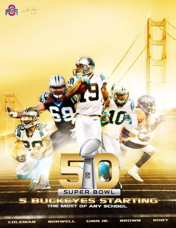 Former Ohio State players on Super Bowl 50 poster