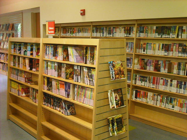 color photo of two library shelves containing children's books