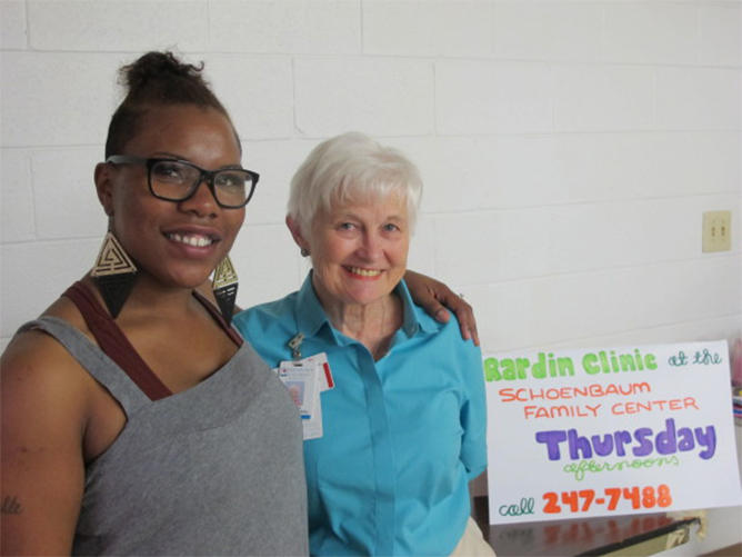 Dr. Patricia Gabbe (right) founded Moms2B, a support group that connects disadvantaged pregnant women with social services. Amber Broadus was one of the first women in the program.
