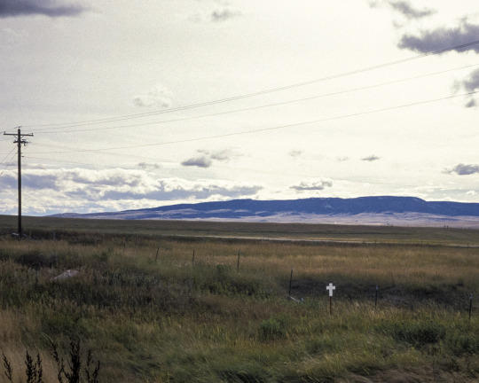 small white cross in the lower right corner, before a backrop of Montana hills and open sky