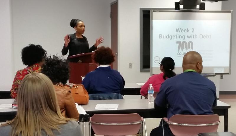 Columbus Urban League's Brandy Moorehead addresses a 700 Credit Score class.