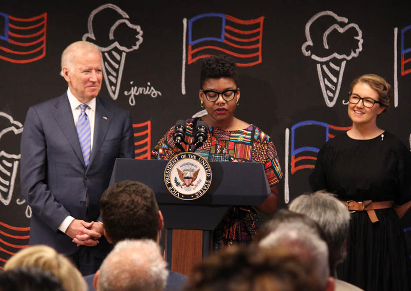 Vice President Joe Biden stands with Jeni's employee and the company's CEO and founder Jeni Britton Bauer.