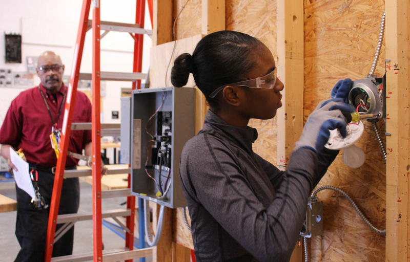 Haby Ba is a first-year student in the Electrical Construction program. Workers in this field are paid well and in high demand, but Ba is just one of two girls in the program.