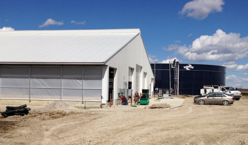 A new dairy barn at the Marion Correctional Institue under construction in March 2016.