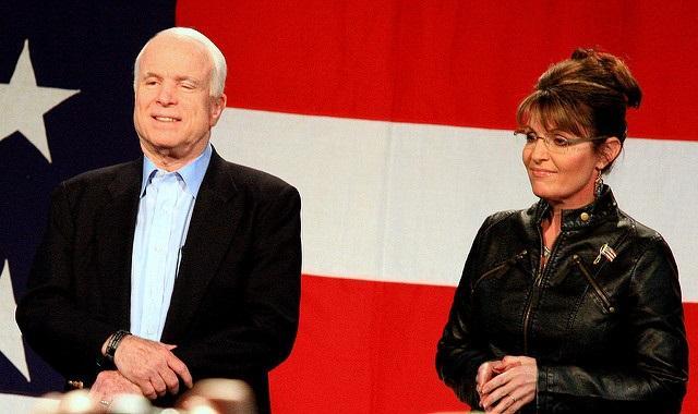 Republican presidential nominee, John McCain with his running mate, Sarah Palin