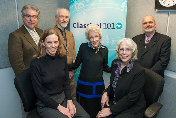 The Classical 101 studio was named in honor of support Anne Melvin in March 2013. Melvin (center) is picture with the Classical 101 staff.