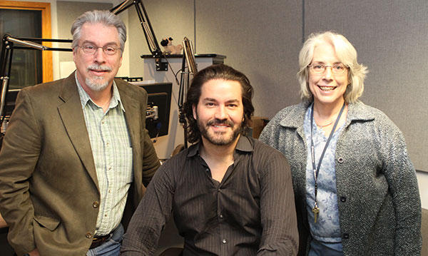 Cellist Zuill Bailey (center) with Classical 101's Beverley Ervine and Boyce Lancaster during a visit to the Classical 101 studio in January 2014.