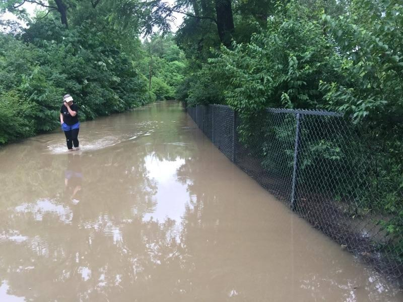 A persistant jogger slogs through flood waters near Clintonville Thursday morning.