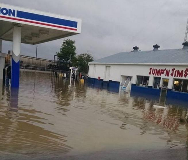 A gas station in Kenton took several inches of water after flash flooding Thursday morning.