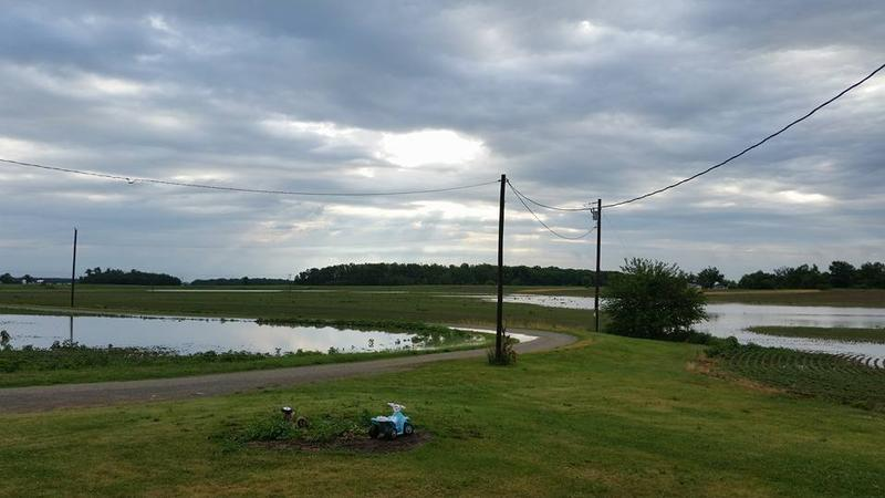 Much of northern Union County was under water early Thursday, including these farm fields near Richwood.