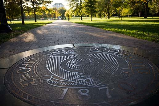 Ohio State University seal on campus