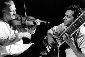 Yehui Menuhin and Ravi Shankar collaborating.