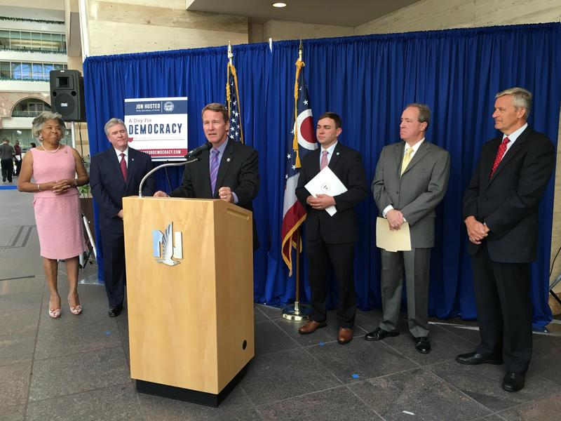 Secretary of State Jon Husted was joined at the announcement on efforts to recruit poll workers by local government and business leaders Credit