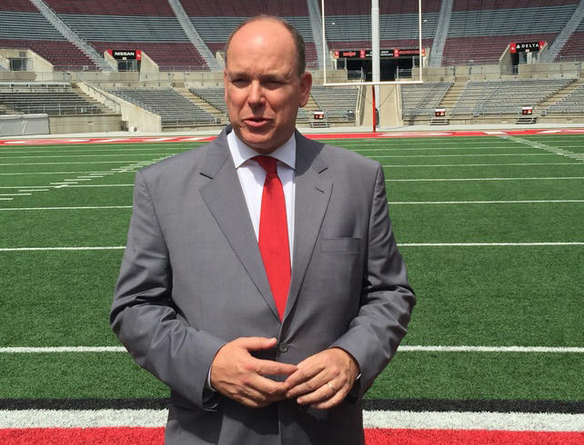 Prince Albert II of Monacco stands on the 50-yard-line of Ohio Stadium during his visit to campus to talk about sustainability.