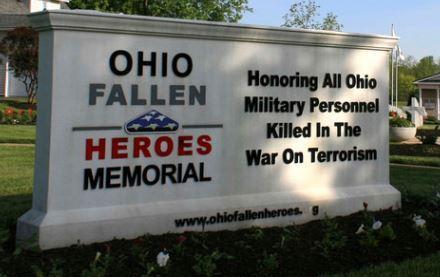 Sign for the Ohio Fallen Heroes Memorial in Sunbury.