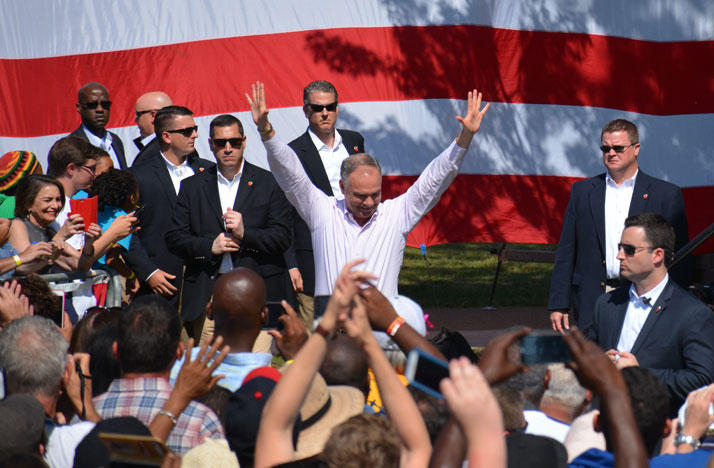 Sen. Tim Kaine greets supporters at a Labor Day rally in Cleveland.