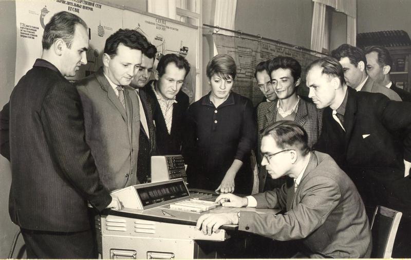 Viktor Mikhailovich Glushkov tests a remote computer