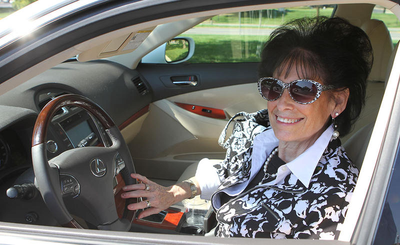 Cynthia Ravitsky in her car.