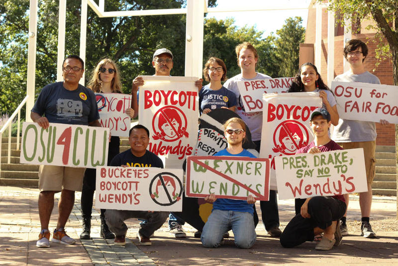 Students rallied with Immokalee workers on Friday, Oct. 7, to demand that OSU end its contract with Wendy's.