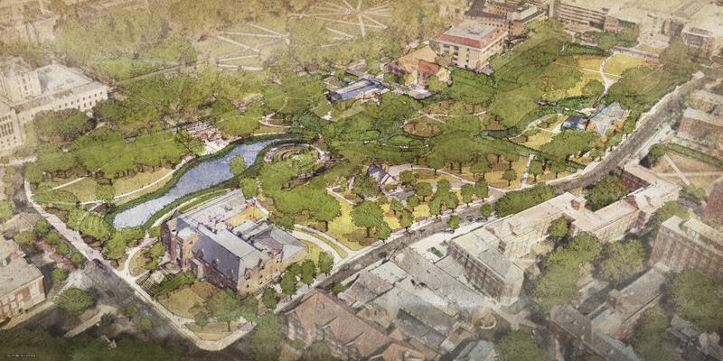 An design rendering of the proposed Mirror Lake District, which is slated to reopen in summer 2018.